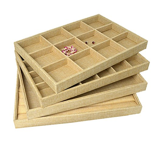 Gossip-Boy-4-piezas1-Set-Premium-lino-bandeja-de-joyas-para-anillo-pendientes-collar-broche-pequea-cosa-grande-capacidad-organizador-almacenamiento-caso