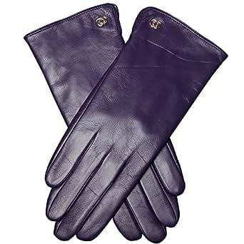 WARMEN Damen-Winterhandschuhe aus echtem Nappaleder, warm gefüttert, in dezent schlichtem Design (6.5, Lila)