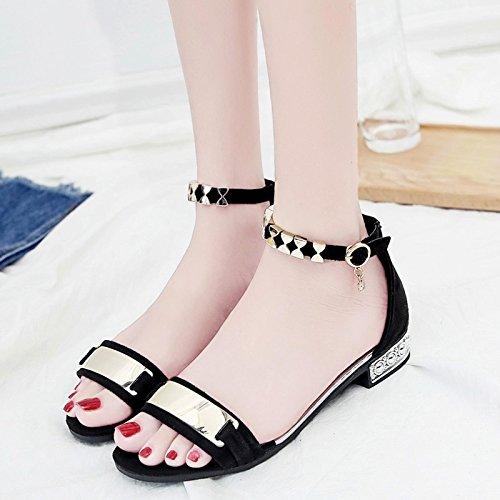 Rugai-eu Sandalias De Estudiante De Punta Abierta Zapatos De Moda De Moda Negro