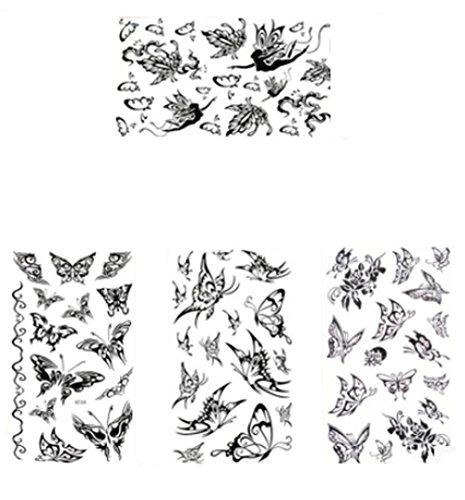 Set von 4 Coole Gothic Letters DIY-Name-Körper-Tätowierung Sticker Tattoos