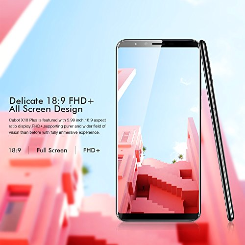 Cubot X18 Plus 4G Smartphone Libres Android 8.0 4 GB RAM + 64 GB ROM 4000 mAH Batería 20.0MP +2.0 MP Cámaras duales Volver Fingerprint MTK6750T 1.5GHz Octa Core 5.99 pulgadas Dual SIM Dual Standby Screen (Negro)