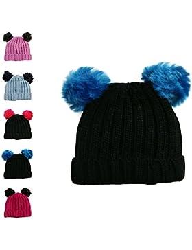 Gorro tejido de invierno para niña con pompón individual y doble 2 POM POM HAT BLACK&BLUE