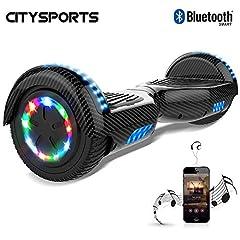 Idea Regalo - CITYSPORTS Hoverboard 6.5 Pollici, Bluetooth Scooter Auto bilanciamento, Scooter Elettrico Intelligente 2x350W con LED