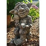 Vidroflor Gartenfigur | Troll JORIK | B/H: 30/46 cm | 20 kg | inkl. CG1-Glas | aus massivem Steinguss