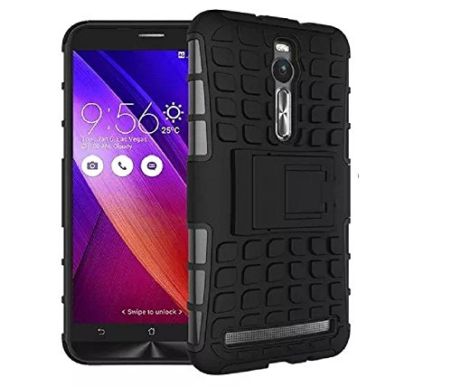 Heartly Flip Kick Stand Spider Hard Dual Rugged Armor Hybrid Bumper Back Case Cover For Asus Zenfone 2 ZE550ML ZE551ML - Rugged Black