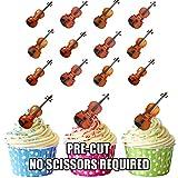 Violine Mix–essbar Stand-up Cupcake Topper (Pack von 12)