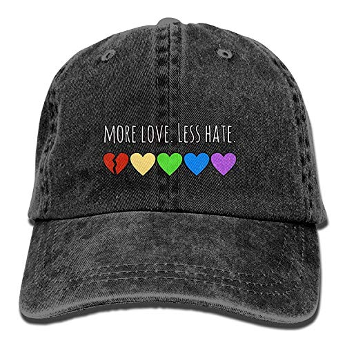 Hoswee Unisex Kappe/Baseballkappe, Washed More Love Less Hate Rainbow Peace Cool Denim Baseball Cap Adjustable Hunting Hat (Jahre 50er Converse)