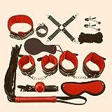 Set di ritenuta da 10 pezzi, kit da benda per interni con manette e frusta (rosso e nero)