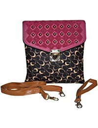 Rahseh Fashion PU Sling Bag With Thread & Metal Stars Design (Black & Dark Pink)