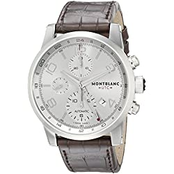 Montblanc Men's 43mm Brown Alligator Leather Band Steel Case Automatic Silver-Tone Dial Watch 107065