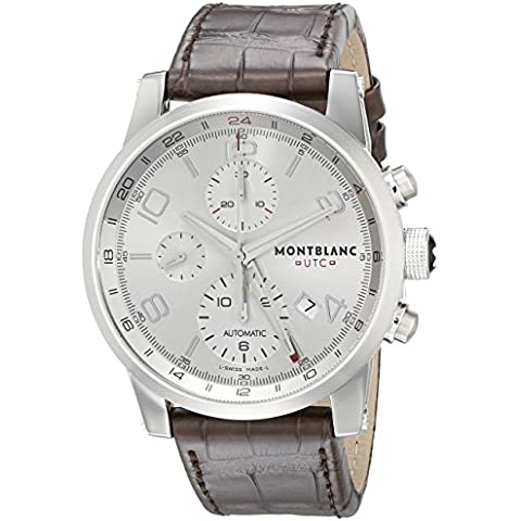 MONTBLANC MEN'S 43MM ALLIGATOR LEATHER BAND STEEL CASE AUTOMATIC WATCH 107065 - Cristallo Rosso Emblem