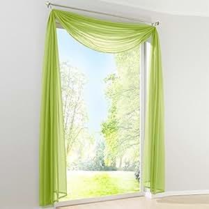 uni farbe voile freihandbogen schals querbehang deko gardinen gr n bxl 140x300cm. Black Bedroom Furniture Sets. Home Design Ideas