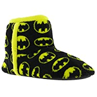 BATMAN Bootee Soft Textile Slip On Black Yellow Mens Boys Slippers UK 13-12