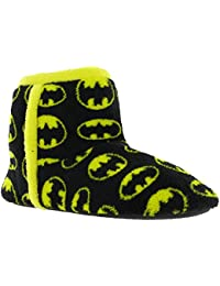 7cc367548928 Batman Luxury Bootee Soft Textile Slip On Black Yellow Mens Boys Slippers  UK 13-12