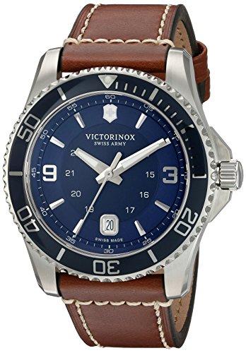 Victorinox de hombre 'Maverick' Swiss Quartz reloj Casual de cuero y acero inoxidable, color: marrón (modelo: 249106)