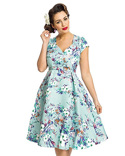 Lindy Bop Celestine' Green Flowers Print Swing Dress