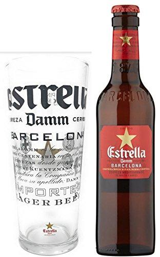 Estrella Damm Pint Glass and Bottle Gift Set (1 Pint Glass and 1 330 ml  Bottle)