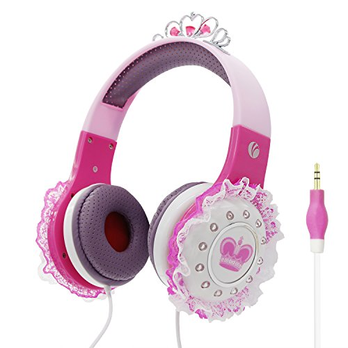 Kids Headphones, VCOM Adjustable Over Ear Stereo Boys Girls Princess Children Earphones Music Gaming Lightweight  Headsets with Volume Limitted for iPhone iPad Smartphones Computers PC Tablet -Pink