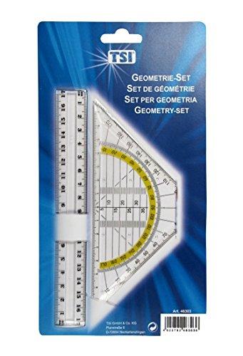 TSI Geometrie-Set Lineal, 17 cm und Geo-Dreieck, 16 cm