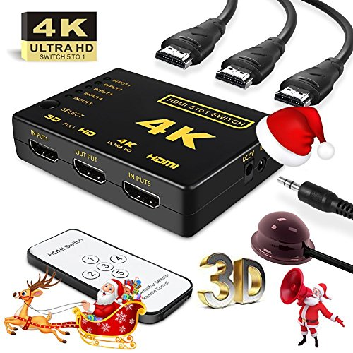 HDMI 4K Switch splitter,Intelligent 5-Port HDMI Switch, Supports 4K, Full HD1080p, 3D with IR Remote (Black-5Port) - 2 - Year Warranty With Rts (Radhey Techno Services)  available at amazon for Rs.999