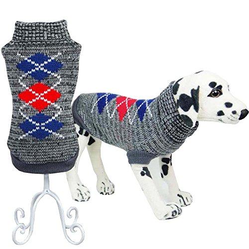 Bolbove Pet Classic Argyle Rollkragen Pullover für Kleine Hunde & Katzen Maschenware, Small, Grau (Argyle Stoff)