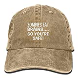 Hoswee Cappellino da Baseball/Berretto da Baseball, Zombies Eat Brains So You're Safe Plain Adjustable Cowboy cap Denim Hat for Women And Men