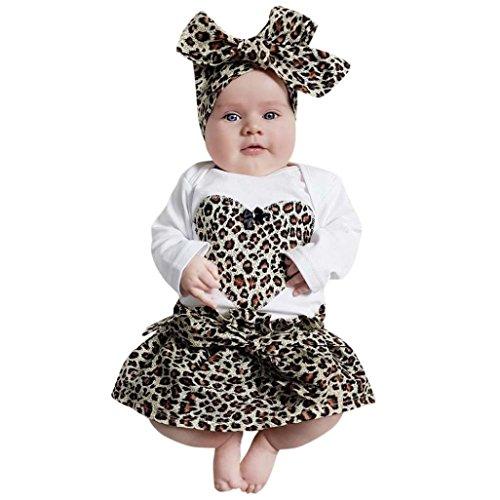 Kinderbekleidung,Honestyi l 3 Stück Säugling Baby Mädchen Herz Spielanzug Oberteile + Leopard Rock Stirnband Outfits Set Passen Ultra Soft Baumwolle Tops Blusen Overalls (6M/80CM, Kaffee) (Leopard Badewanne)