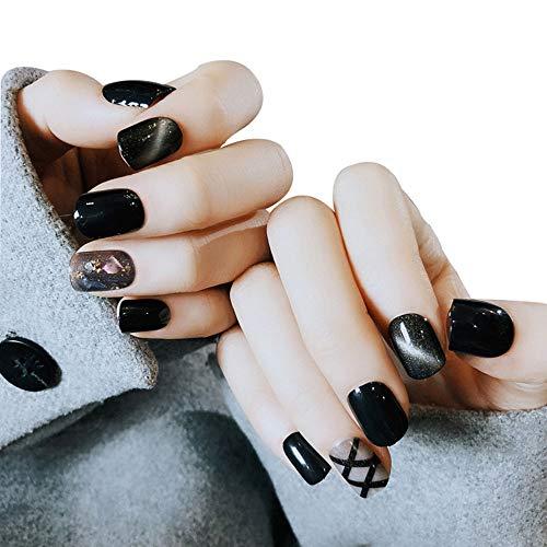 Gefälschte Nägel Des Weißen Diamanten Beendeten Nagelflecken Cat Eye Nägel Mond Gefälschten ()