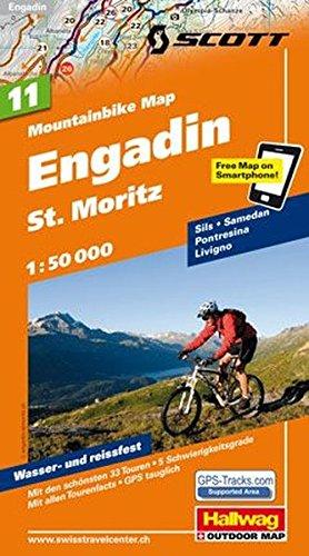 Preisvergleich Produktbild MTB-Karte 11 Engadin - St. Moritz 1:50.000: Mountainbike Map (Hallwag Mountainbike-Karten)