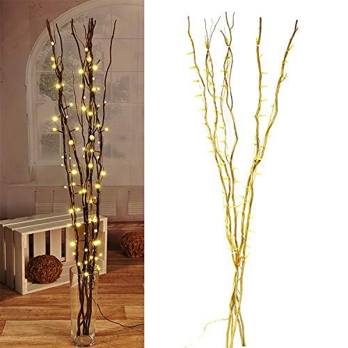 Lichterzweige mit 60 LEDs gold Beleuchtung Lichterkette Leuchtzweig Dekoration Lichter Zweig