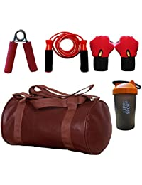 SOOPLE SPORTZ Gym Bag Combo Set Enclosed With Soft Leather Gym Bag For Men And Women For Fitness - Bag Size 49cm... - B07D9LJ5BF