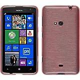 PhoneNatic Case für Nokia Lumia 625 Hülle Silikon rosa, brushed + 2 Schutzfolien