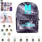 BTS Kpop Love Yourself Tear, BTS Sac à dos Fluorescent+Laser Transparent Etui à Crayons+Photocard+Porte-clés+Badge Pour Tous les Fans et Amis de BTS(H2)