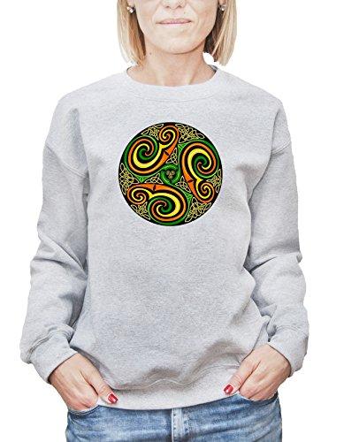 Felpa da donna con Green Spiral Mandala stampa. X-Large, Grigio