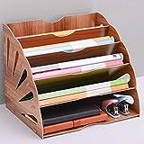 Mindruer Holz-Ordnerregal, mehrschichtige Ordneraufbewahrung, Papier-Klassifikationsregal, Schreibtisch-Organizer 34x28x28cm braun