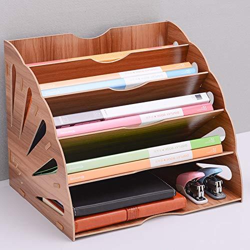 Hi_Smile - Portadocumenti in legno, multistrato, da scrivania, per la classificazione dei documenti, colore: marrone 34x28x28cm Marrone