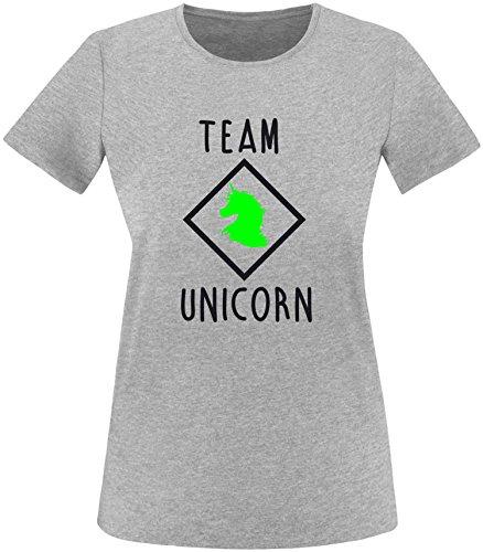 EZYshirt® Team Unicorn Damen Rundhals T-Shirt Grau/Schwarz/Neongr