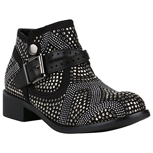Blog Kostüm Und Mode (Leicht Gefütterte Stiefeletten Damen Biker Boots Nieten Schnallen Schuhe 150119 Schwarz Strass 39 |)