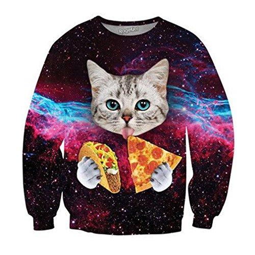 3D Sweatshirts Männer Lustige Tier Katze Essen Pizzen Drucken Cool Casual Pullover Crewneck Longsleeve Lose Tops As picture XXXL
