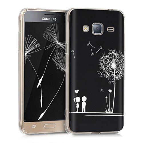 kwmobile Hülle für Samsung Galaxy J3 (2016) DUOS - TPU Silikon Backcover Case Handy Schutzhülle - Cover klar Pusteblume Love Design Weiß Schwarz (Zuneigung Silikon)