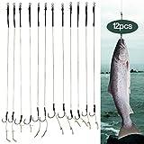 Lixada 12 Stücke Geflochten Karpfenfischen Haar Rigs High Carbon Steel Haken Swivel Karpfen Rigs Zubehör