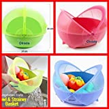 OLRADA 1+1 Smart Fruit Basket & Rice Bowl Plastic Set 2pcs Set (Assorted Color)1
