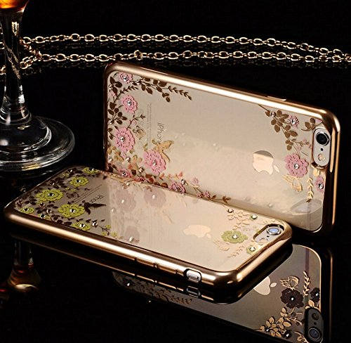 "iPhone 6sPlus Hülle Glitzer-Strass Case, CLTPY iPhone 6Plus Schutzfall Plating TPU Transparent Dünne Handytasche im Elegante Stylisch Series, Luxus Bling Schale für 5.5"" Apple iPhone 6Plus/6sPlus (Nic Grüne Flower"
