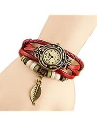 Hosaire Bonita Vida tejido circundando de pulsera de cuero para senora mujer reloj de pulsera Rojo