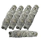 5 x White SAGE weißer Salbei XL Smudge Bündel (16-18 cm) zum Räuchern & Ausräuchern für Hausreinigung & Rauhnächte | 6-tlg Räucherset mit Beschreibung & Anleitung | 81209-5