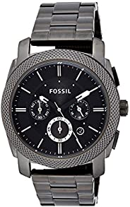 Fossil Men's Fs4662 Machine Chronograph Stainless Steel Watch - Smoke, Black Band, Analog Dis
