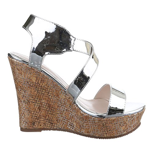 Damen Schuhe, 0-90, SANDALETTEN KEIL PUMPS MIT RIEMCHEN Silber