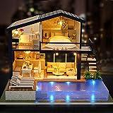 Casa delle bambole fai-da-te, tempo appartamento fai-da-te capanna casetta casa delle bambole in legno assemblaggio manuale decorazione della casa vacanza regalo di compleanno regalo festa della mamma