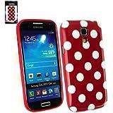 Emartbuy ® Samsung Galaxy S4 Mini I9190 Tupfen Gel Skin Cover / Case Rot / Weiß