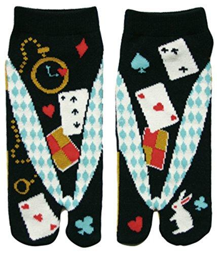 Damen Tabi Socken Zehensocken Alice im Wunderland